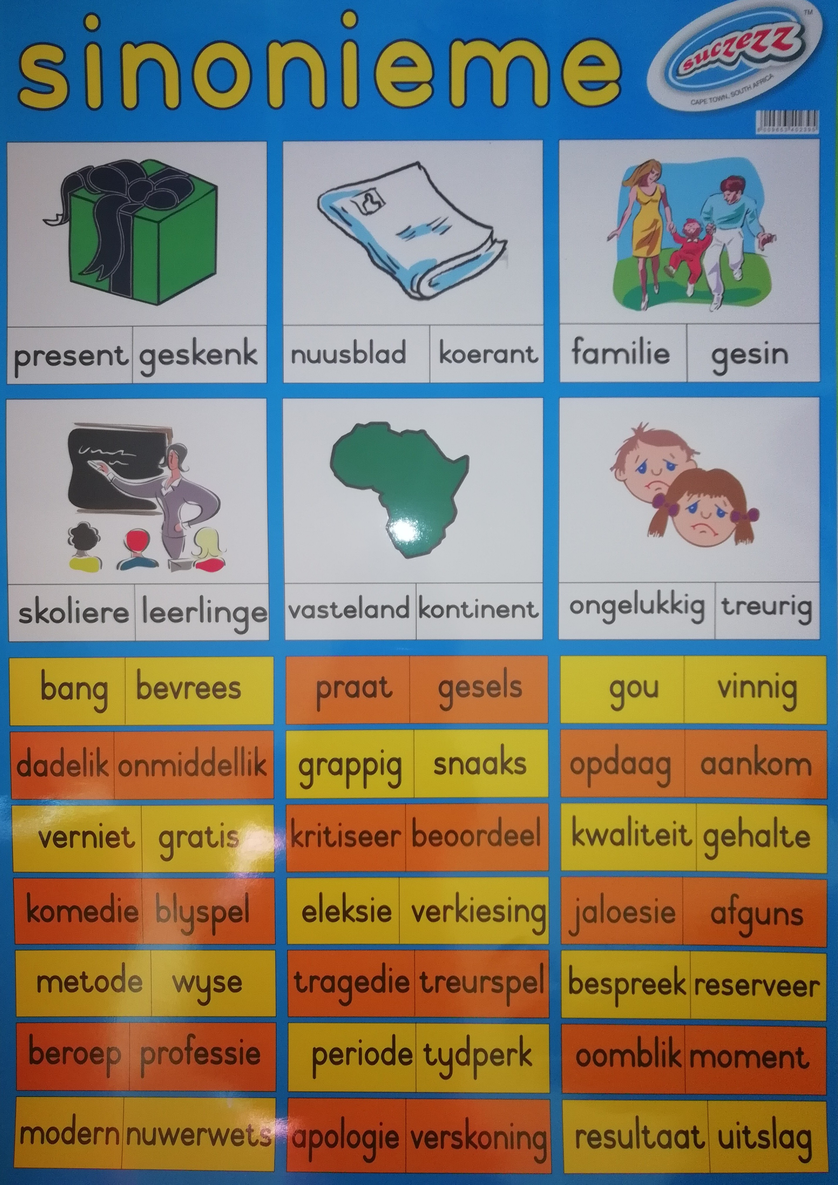 Sucezz Educational Wall Chart / Poster - Afrikaans - Sinonieme (Synonyms)